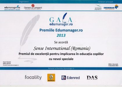 Excellency Award for the Involvement in the Education of Children with Special Needs for Sense International (Romania)