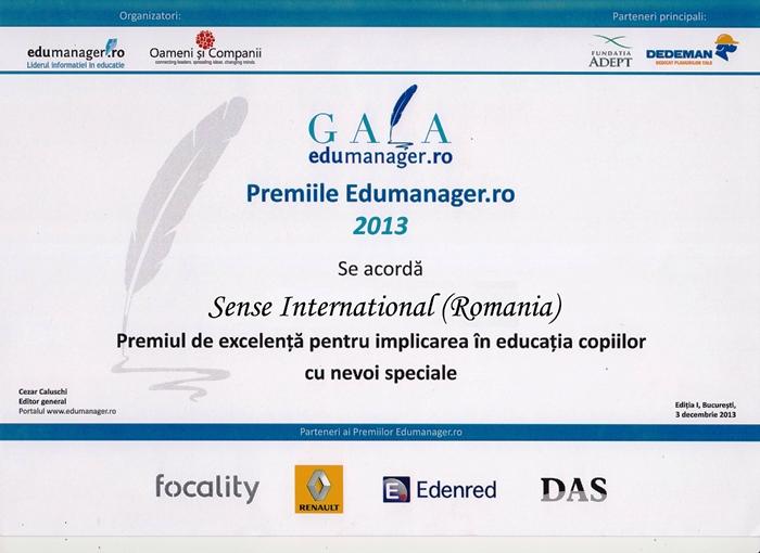 Premiul de excelență pentru implicarea în educația copiilor cu nevoi speciale pentru Sense Internațional (România)